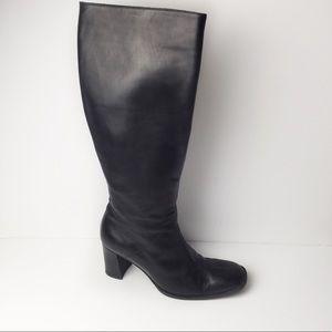 J Crew Black Italian Leather Tall Knee Height Boot
